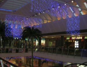 Ljusgardiner och istappar med blåa leds