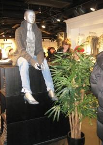 Konstgjorda växter i klädbutik