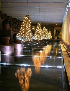 Hängande plastgranar med ledbelysning på Hotel Arts i Barcelona. Tack vare vattnet blir det en spegeleffekt.