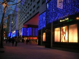 Ljusdraperier med blåa leds och snowfalls, Lilla Barcelona.