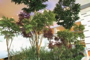 Stora konstgjorda träd på köpcentrum